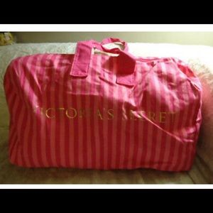 Victoria's Secret Pink Stripes XL Canvas TravelBag